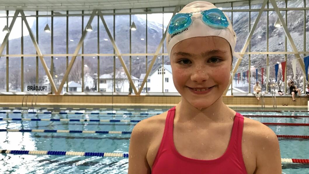 KJEKK DEBUT: Ida Ouren Jentoftsen (9) var ein av dei som prøvde seg i konkurranse for første gong.