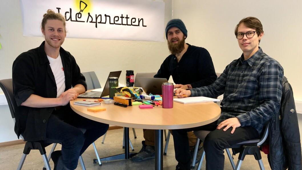 DRIFTIG TRIO: Daniel Green, Sivert Hammer og Petter Olsen håpar å skapa eit miljø for folk som er interesserte i innovasjon og entreprenørskap.