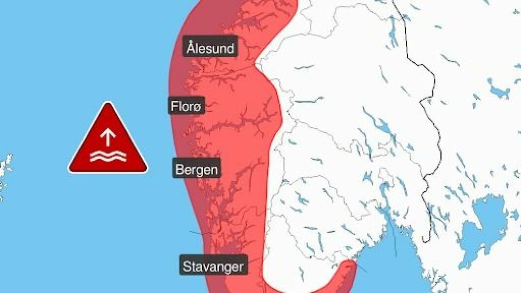 RAUDT: Det er sendt ut raudt varsel for ekstremt høg vasstand langs store delar av norskekysten.