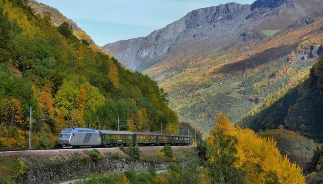FLÅMSBANA: På dette toget vart det røykutvikling i helga.