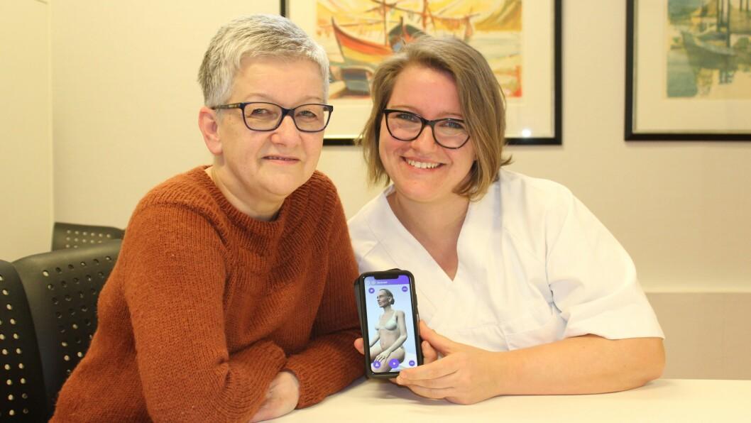 SJØLVHJELP: Tone Kvigne (t.v) har prøvd ut appen «Pust deg bedre», som er utvikla av Elin Johnsen (t.h). Johnsen vil hjelpa dei med lungesjukdommar å hjelpe seg sjølv meir.