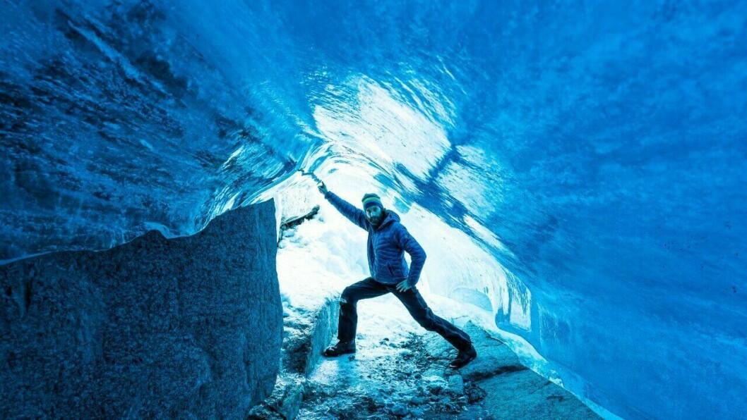 SIKKERHEIT FØRST: Lie oppmodar andre som også vil sjekke ut grotta til å passe på sikkerheita, dersom ein ikkje allereie har mykje kunnskap om isbre og grotter.