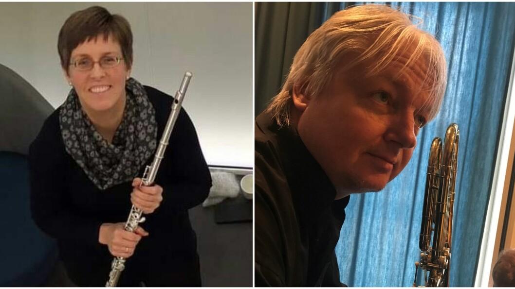 Kulturskulelærarane Beate Kjølstad (t.v) og Leif Aslaksrud (t.h) måtte òg finne digitale løysingar for å kunna ha speletimar med elevane sine.
