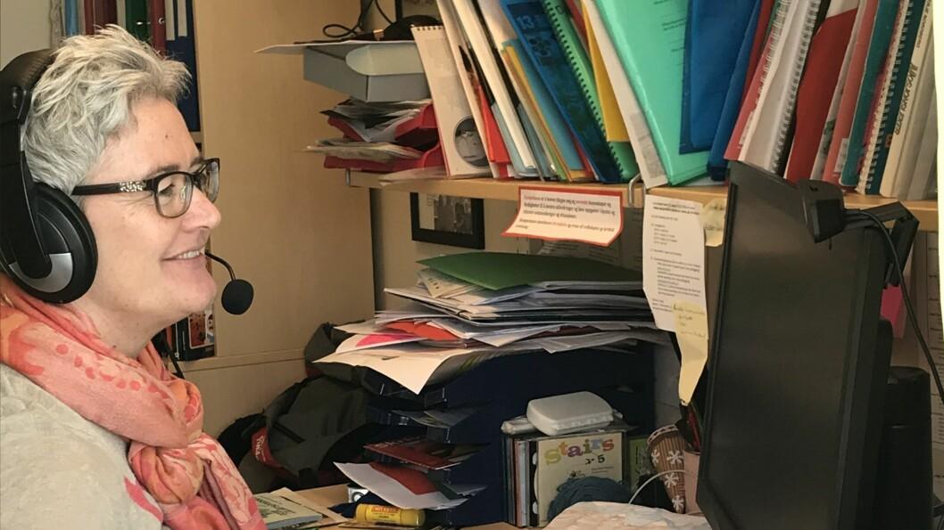 LÆRAR: Wenche Weka brukar dagane på kontoret betrakteleg meir digitalt enn tidlegare.