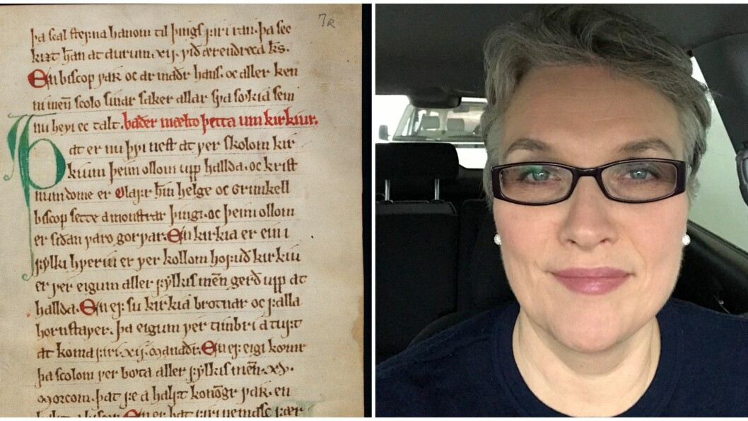 Dagleg leiar for Gulatinget, Anne Hopland, meiner Gulatingslova er ein viktig del av Noreg si rettshistorie og vil ha den heim til nasjonen. Til venstre: Eit utdrag frå samlinga.