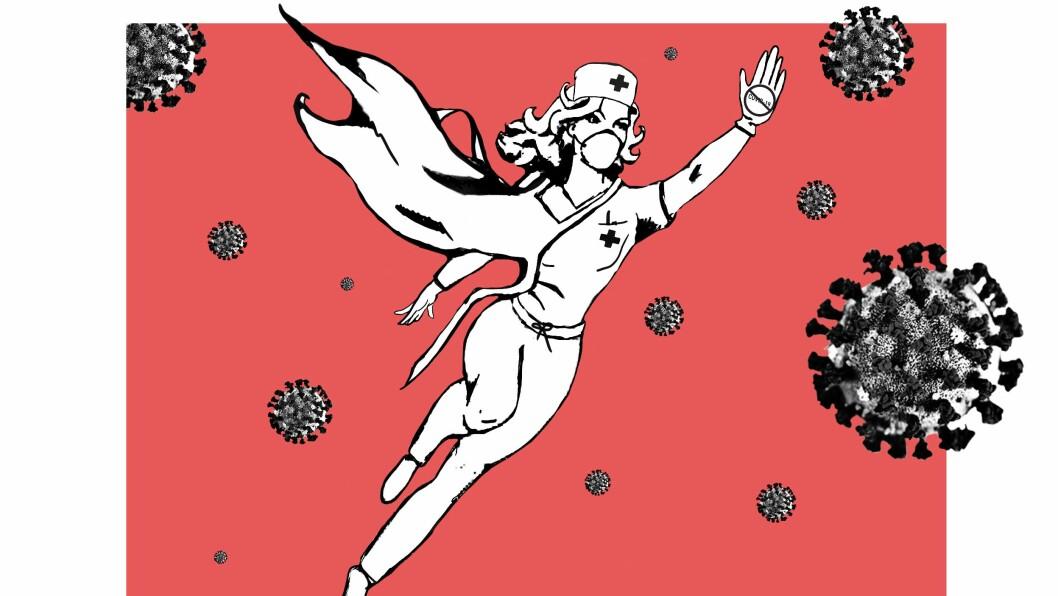 SUPERHELT: Plakaten «Real Superheros» syner helsearbeidaren som kjempar mot koronaviruset.