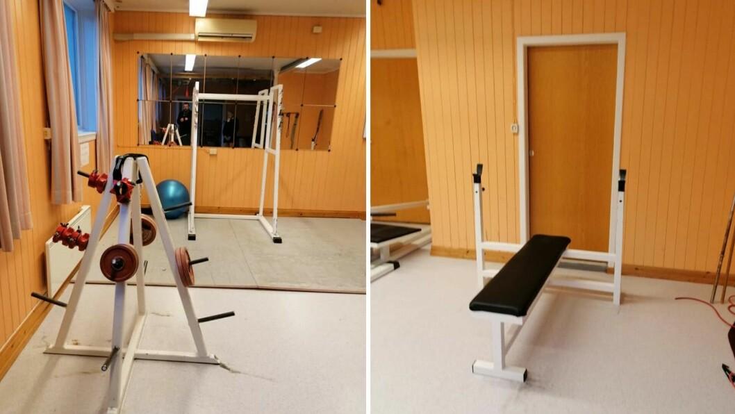 VEKKE: Blant anna ei rekkje vekter frå stativet i front av biletet til venstre og vektstenger har forsvunne frå treningsstudioet i Lavik.