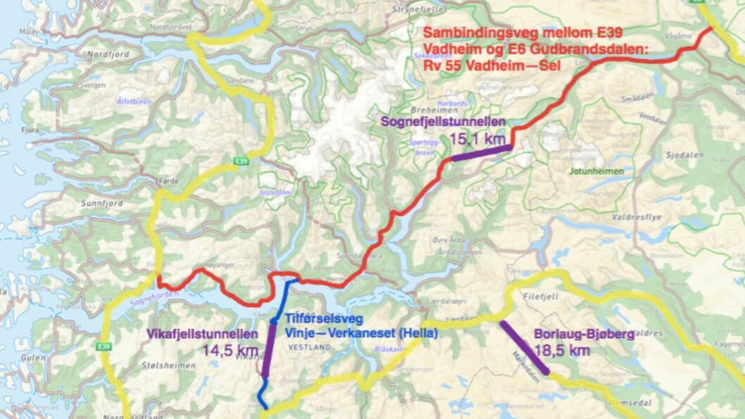 VEG: Høgre i Sogndal, Luster, Lærdal og Årdal har blant anna meiningar om fylkesveg 55 og fleire tunnelar i eit innspel til Nasjonal transportplan.
