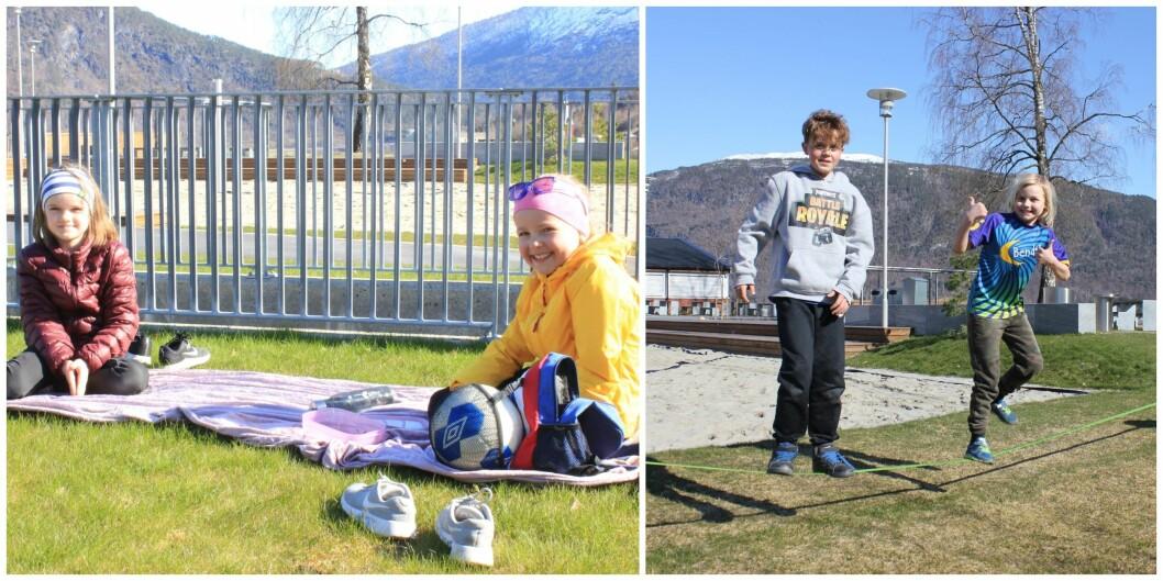 Janne Hodlekve og Andrine Sjøvoll (t.v) og Asbjørn Svedal Hatle og Edvin Tobias Mansåker Holme nyte sola etter heimeskule.