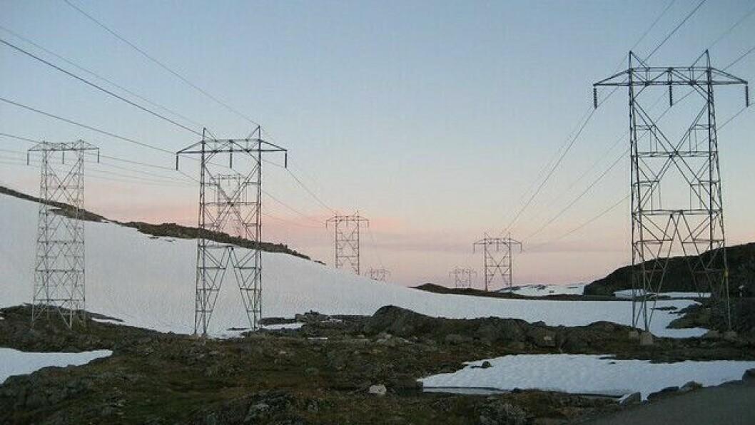 KONSESJON: Regjeringa gir Hydro konsesjon til to kraftverk i Fortun. Her frå kraftlinja mellom Årdal og Fortun.