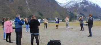 Her har skulekorpset første øving etter koronapausa