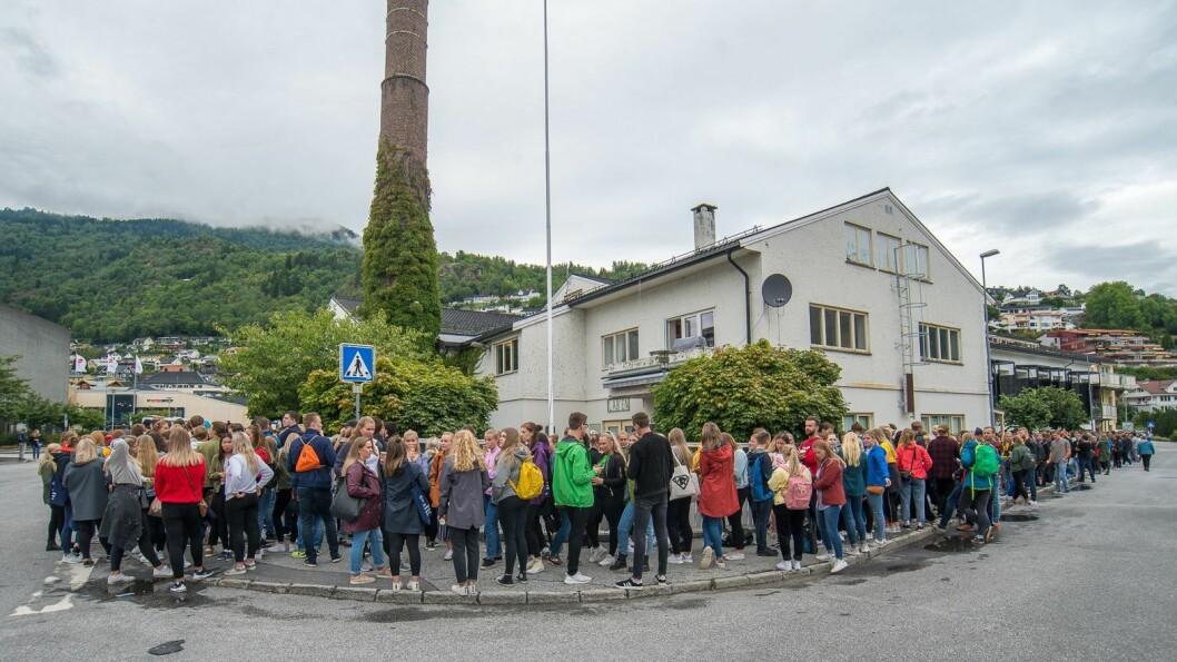 VIKTIG ARENA: Billettkø framfor Meieriet før studiestart i 2018. Torsdag var eigedomsskatten til bygget tema for politikarane.