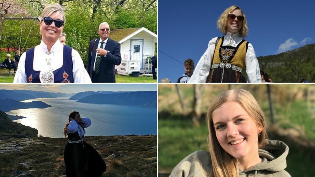 GLER SEG: Porten.no har teke ein prat med Hege Ølmheim, Hanne Lisbeth Nybø, Aina Brendsdal Forthun og Maria Eide korleis dei skal feira nasjonaldagen.
