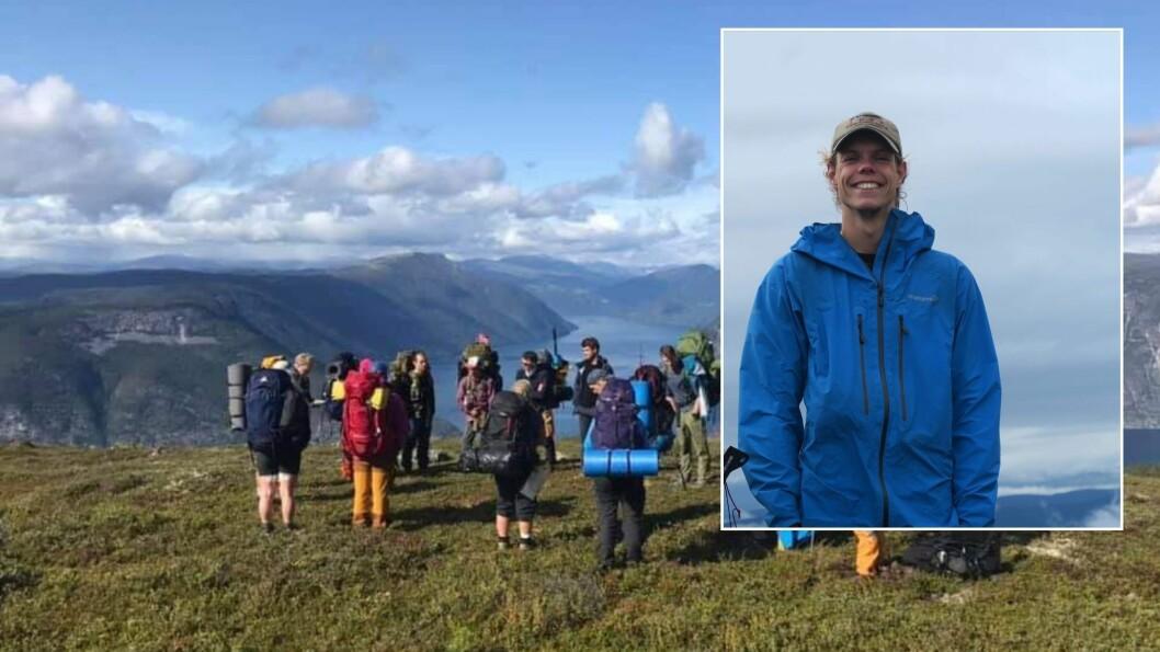 AKTIV: Sjølv om det ikkje er nokre turar arrangert av friluftsstudiet, har Torstein Borsheim Kyllesø vore ute dagleg både på ski, sykling, og klatring. Her frå tidlegare tur med klassen.