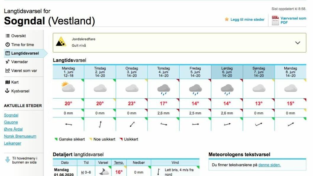 LÅGTRYKK: Det kjem eit lågtrykk innover landet, og det er venta regnbyger frå onsdag av.