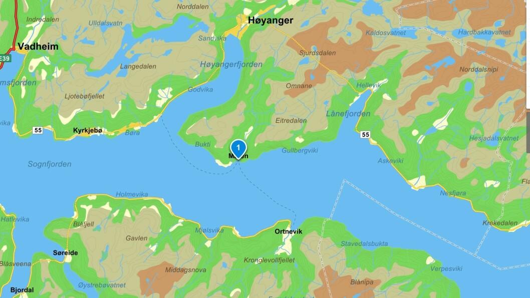 UTAN VEG: Grenda Måren på nordsida av Sognefjorden er veglaus, men ferja MF Tansøy går innom Måren på ruta mellom Nordeide og Ortnevik.