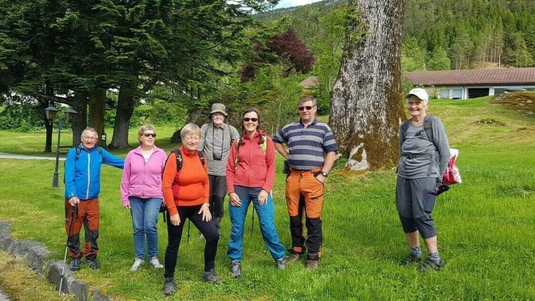 UT PÅ TUR ALDRI SUR: Denne glade gjengen møtte opp på turgruppe onsdag denne veka.