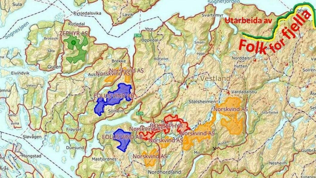 KART: Folk for Fjella har utarbeida eit kart som for første gong gjev eit samla oversyn over dei fleste prosjekta det vert jobba med i Nordhordland, Gulen.