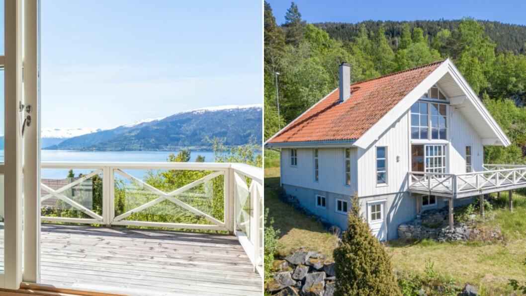 GODE SOLFORHOLD: Eigedommen har flott utsikt over Sognefjorden.
