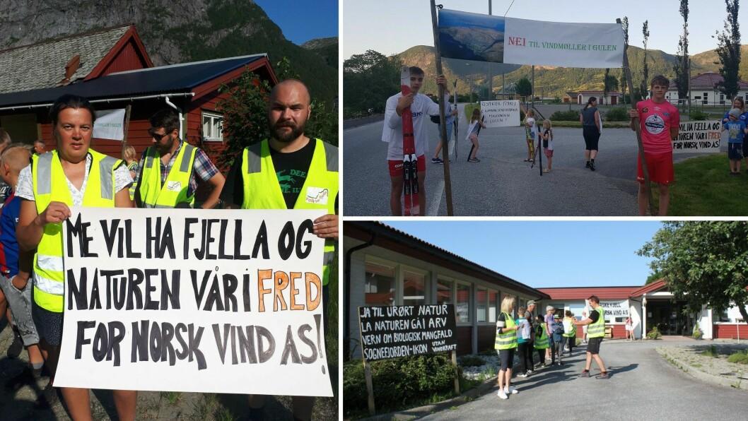 SA FRÅ: Det var demonstrasjonar mot vindkraft på Verkland, i Brekke og i Eivindvik i Gulen torsdag.