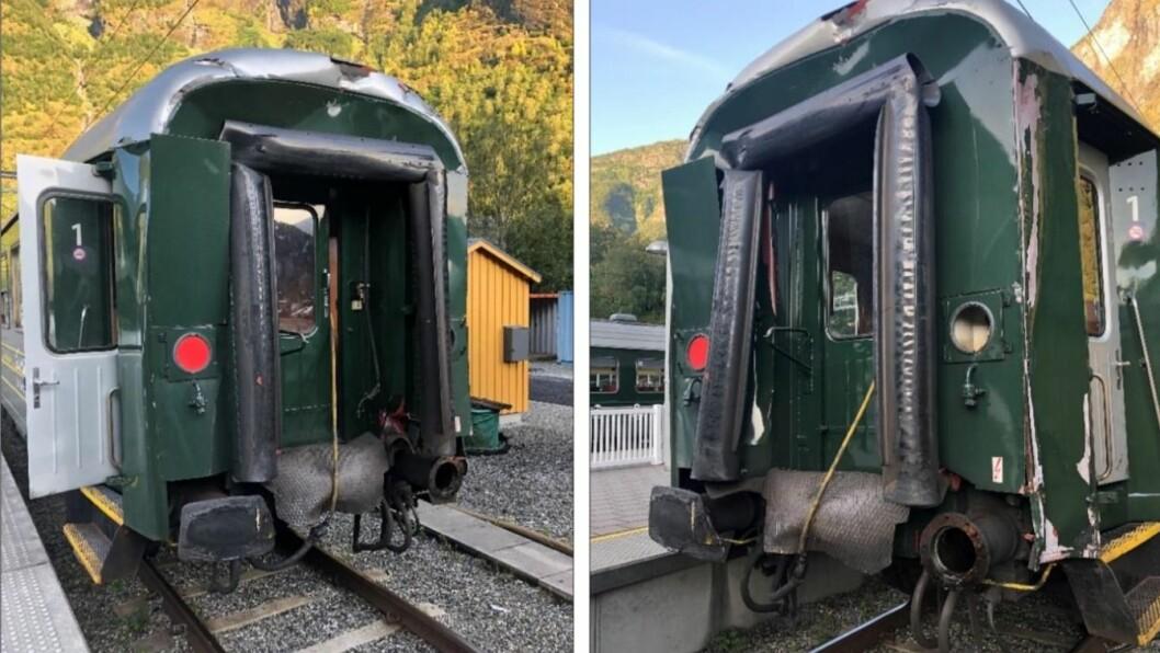 SAMANSTØYT: To tog kolliderte på Bergkvam stasjon på Flåmsbana i fjor sommar. Bileta er frå rapporten til Havarikommisjonen, som nyleg vart publisert.