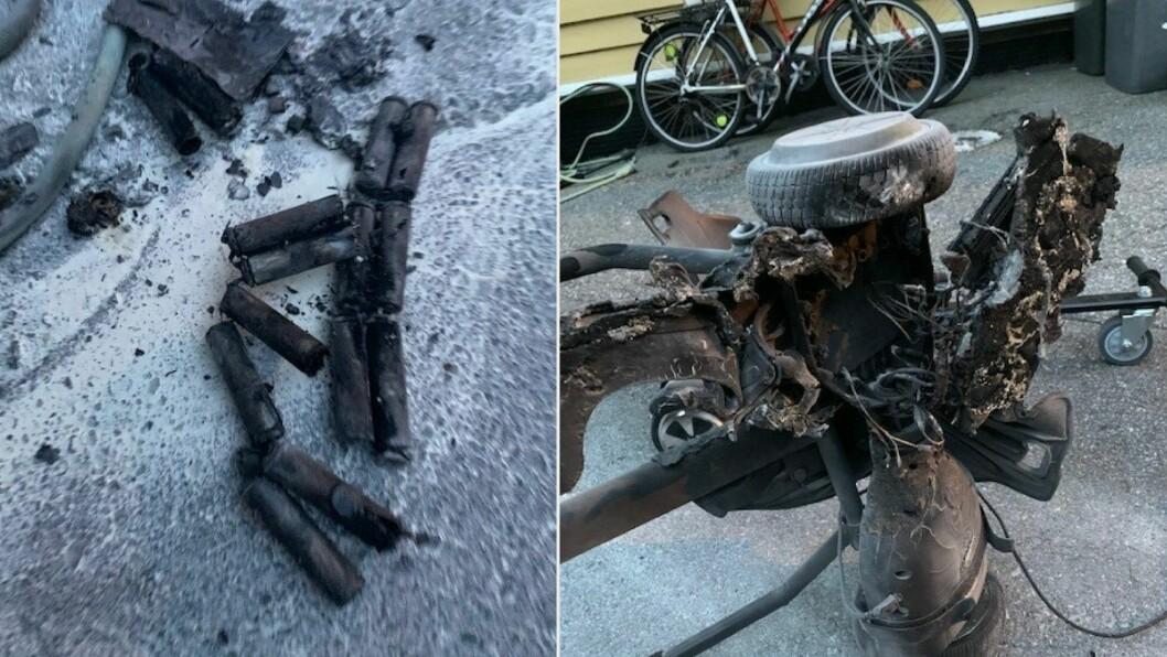 UTBRENT: Ein ståhjuling tok onsdag fyr i Årdal. Eigaren fekk sløkt brannen sjølv.