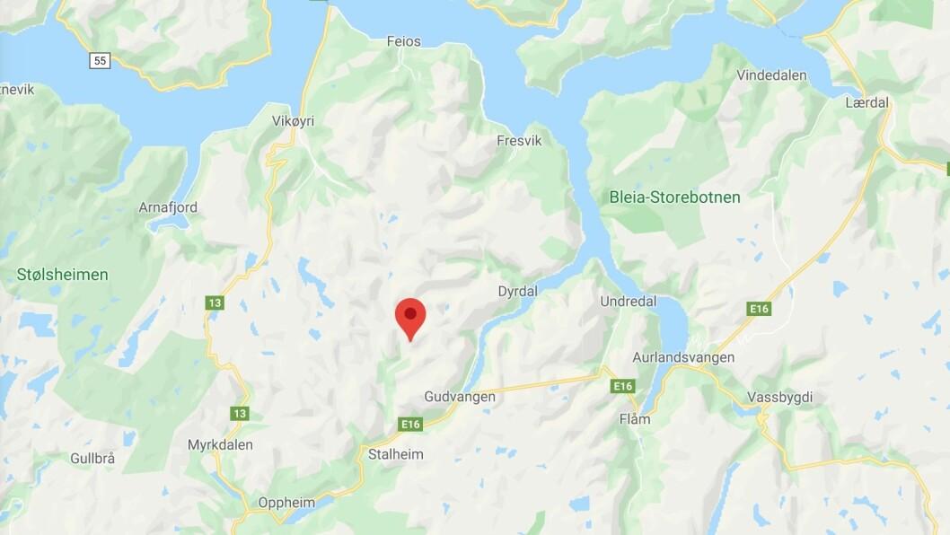 AURLAND: Redningsaksjon på Bakkanosi i Aurland.