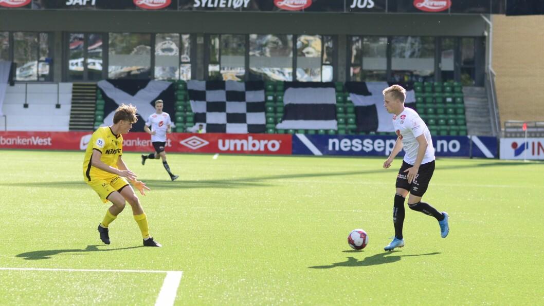 I FARTA: Vingback Tomas Totland skåra det einaste målet i kampen, og sitt sjette mål for sesongen.