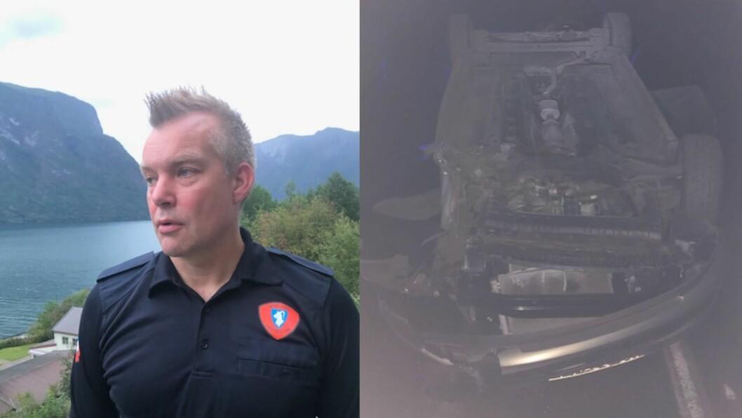 UVANLEG: Det er sjeldan at bilar endar på taket inne i tunnelar, seier brannsjef Reinhardt Sørensen