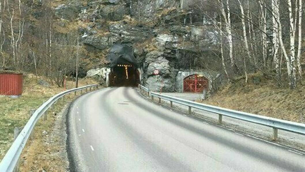 TUNNEL: Seimsdalstunnelen er einaste veg mellom Seimsdalen og Årdalstangen, og vart opna i 1962.