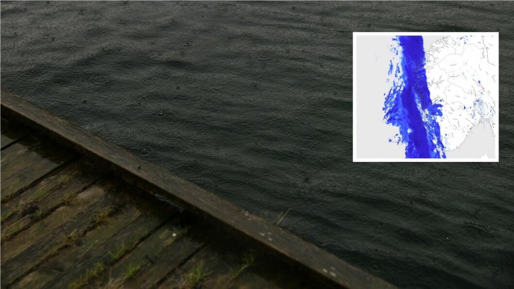 EIN VEGG: Meteorologane tilrår både gummistøvlar og kanskje sydvesten. For no blir det vått.
