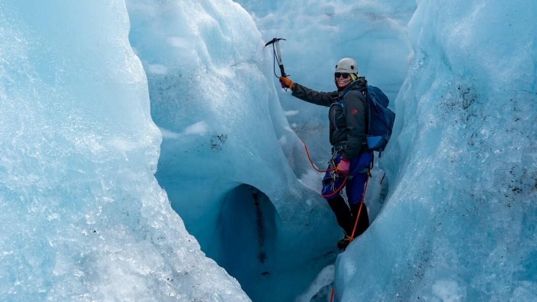 BLÅIS: Blåisvandring på Bøverbreen var eitt av turmåla under fjellsportsamlinga.