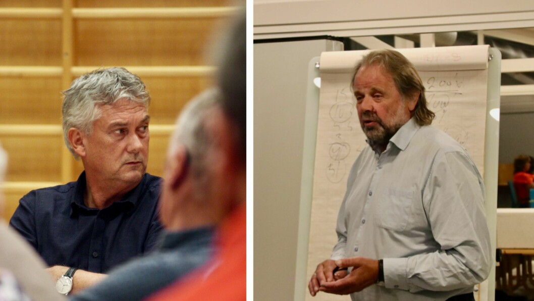 FØLGJER MED: Dei to ordførarane Petter Sortland (til venstre) og Hallvard Oppedal følgjer med på situasjonen i Hyllestad.