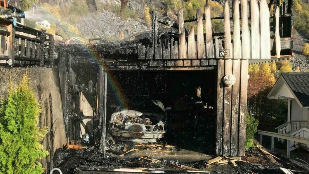 UTBRENT: Slik ser garasjen ut etter brannen.