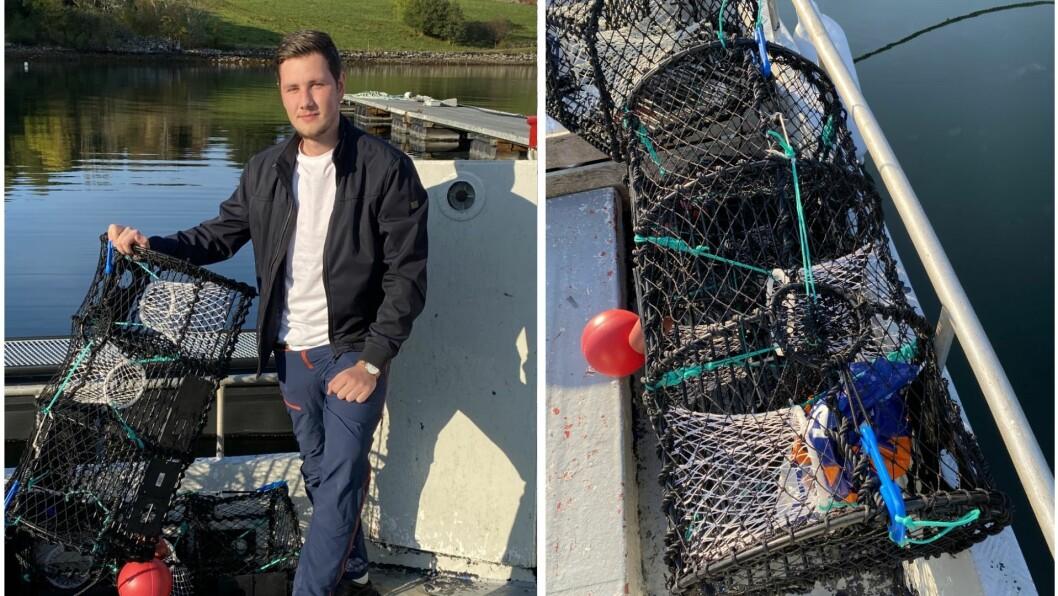 OPPGITT: Slik fann Simon Pedersen ei av teinene sine. På biletet har han lagt inn ein plastpose i etterkant for å illustrere utfordringa.