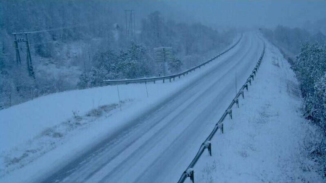 SNØ: Slik ser det ut i Sogndalsdalen tysdag morgon.