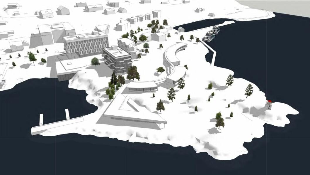STORE PLANAR: Eigarane av Sognefjord Hotel på Leikanger har store planar om korleis tomta deira ved fjordkanten kan utviklast vidare.