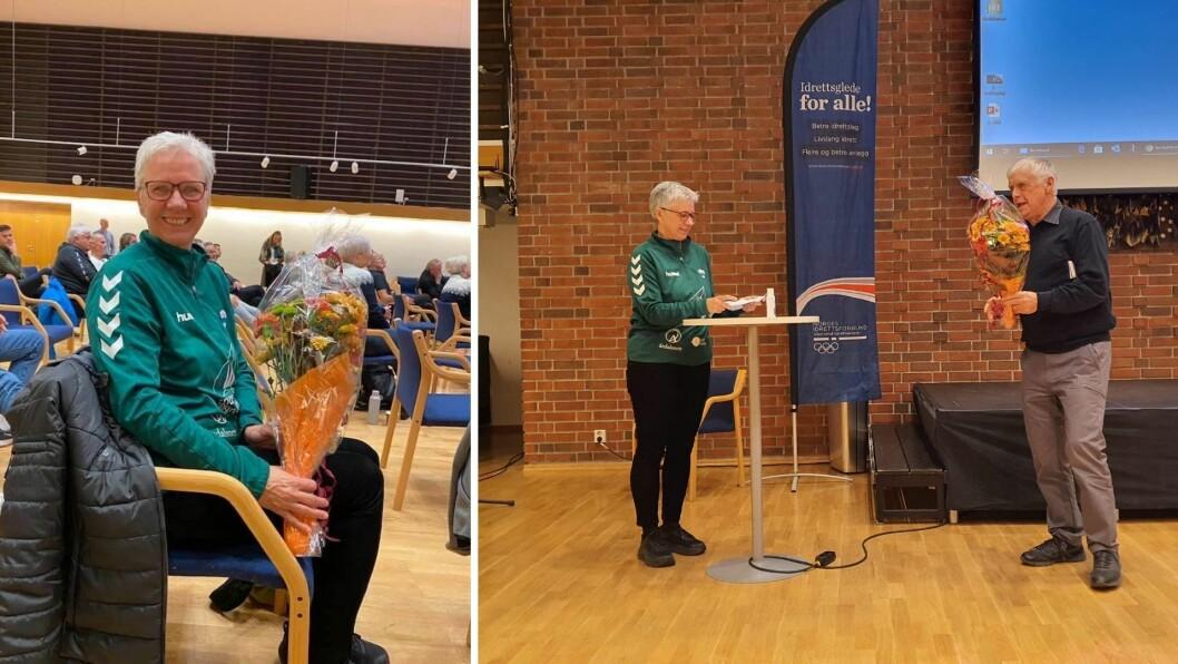 ÅRETS ELDSJEL: Ruth Laberg fekk den gjeve prisen, årets eldsjel, av Vestland idrettskrets.