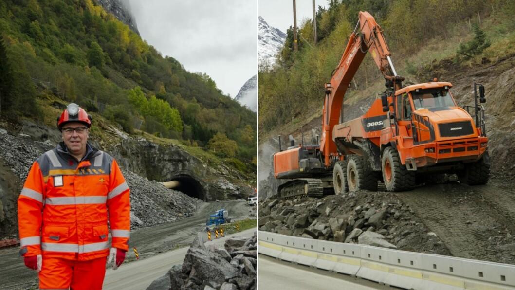 KJØSNES: Prosjektleiar Svein Reidar Dale framfor tunnelinnslaget på Kjøsnes.