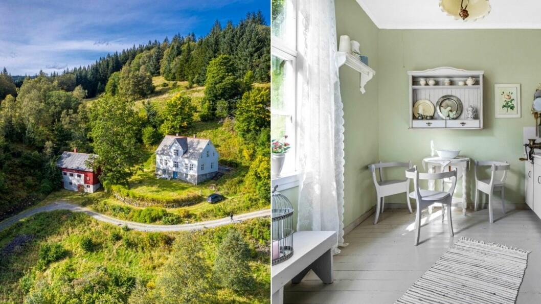 TIL SALS: Dette vesle gardsbruket i Leirvik kan bli ditt for 2,4 millionar kroner.