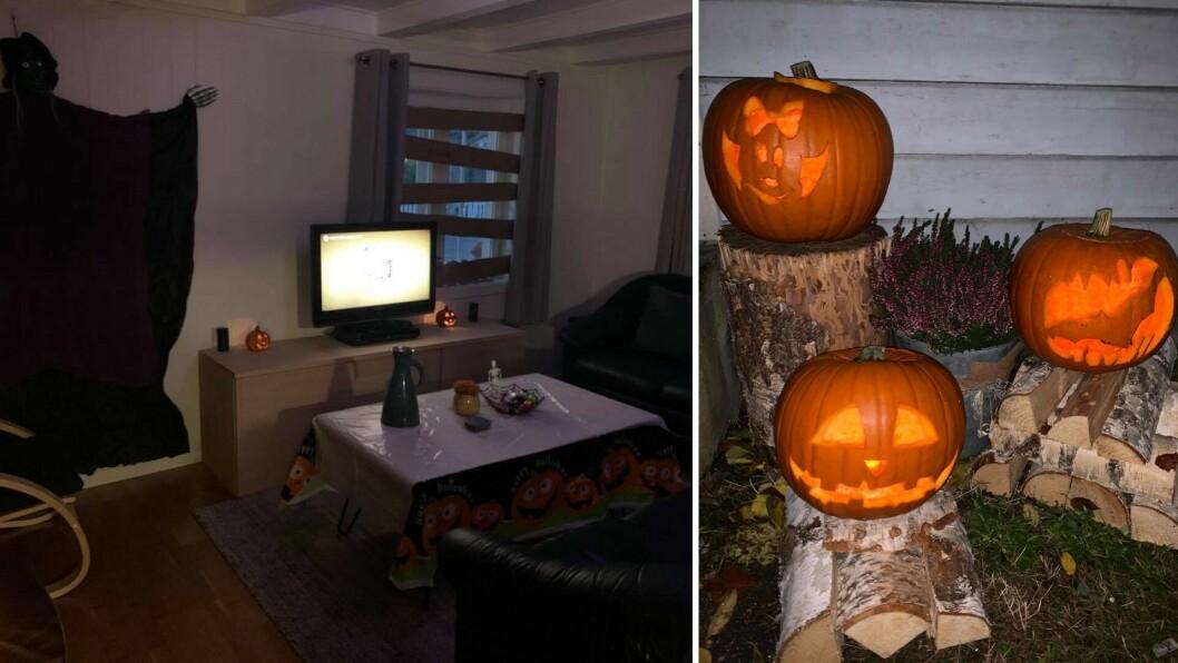 DEKORASJON: Den viktigaste delen av halloween-feiringa er å sette stemninga, og det skjer heime