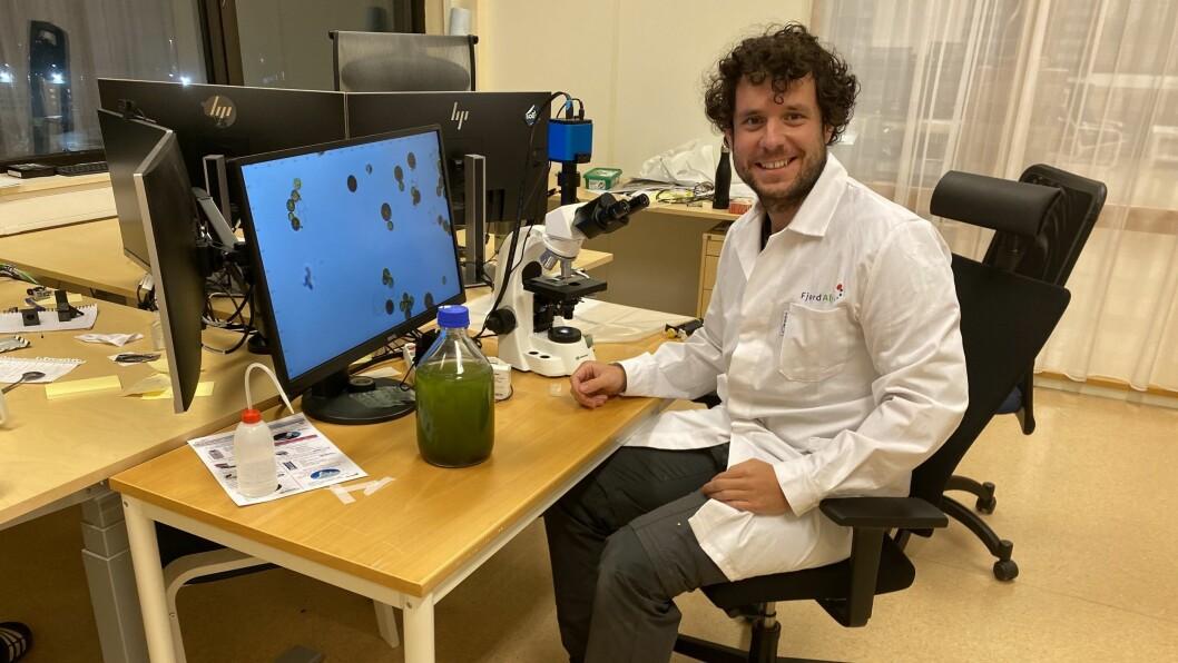 I MIKROSKOPET: Javier Giraldo studerer mikroalgar i mikroskopet.