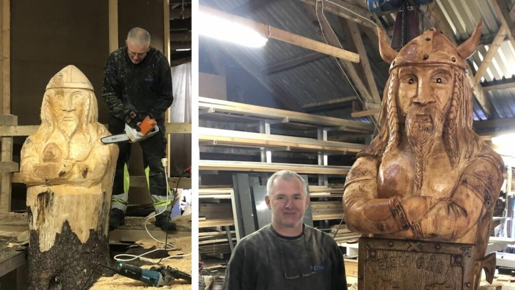 TO ÅR: Etter to år på tørk er endeleg vikingkongen klar å stillas ut. No ser Artur vidare til neste prosjekt.