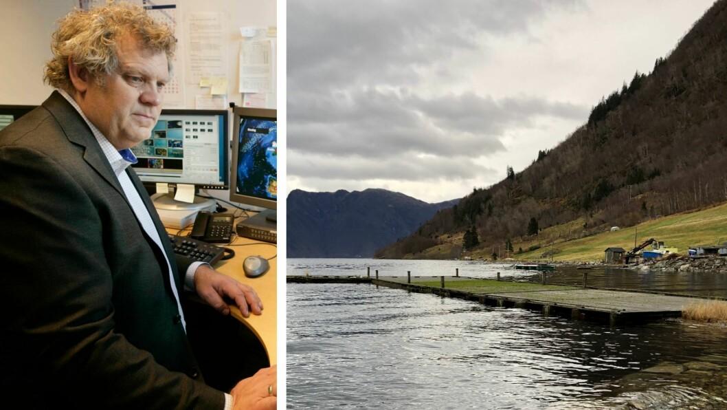 STORMFLO: Statsmeteorolog Kristen Gislefoss forklarar at eit lågtrykk i Nordsjøen gir stormflo i Sogn.