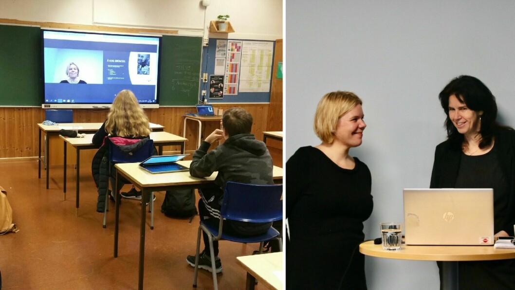 FØLGDE MED: 10. klasse ved Dalsøyra skule følgde årets karrieremesse frå klasserommet. Dagleg leiar i Gulen og Masfjorden utvikling, Ragnhild Undertun og marknadskoordinator i Nav Nordhordland, Anne-Lise Wilkensen streama frå Hosteland