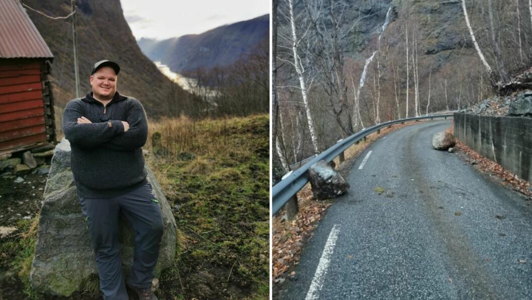 IKKJE NOKO NYTT: Bengt Erlend Skjerdal var ikkje overraska då han nok ein gong måtte svinge seg mellom eit knippe steinar som hadde ramla ned i vegen.