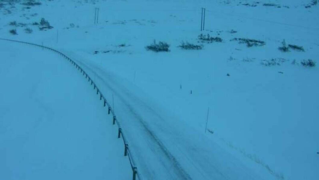 SNØ: Vegen ved Hestavollen på Vikafjellet er dekka sv snø måndag morgon.