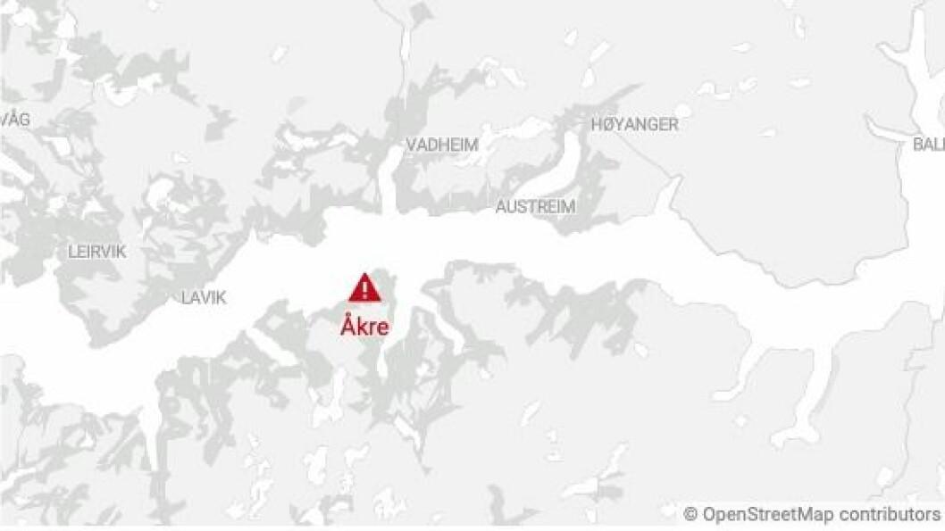 ÅKRE: Raset er gått ved Åkre på Høyanger sørside.