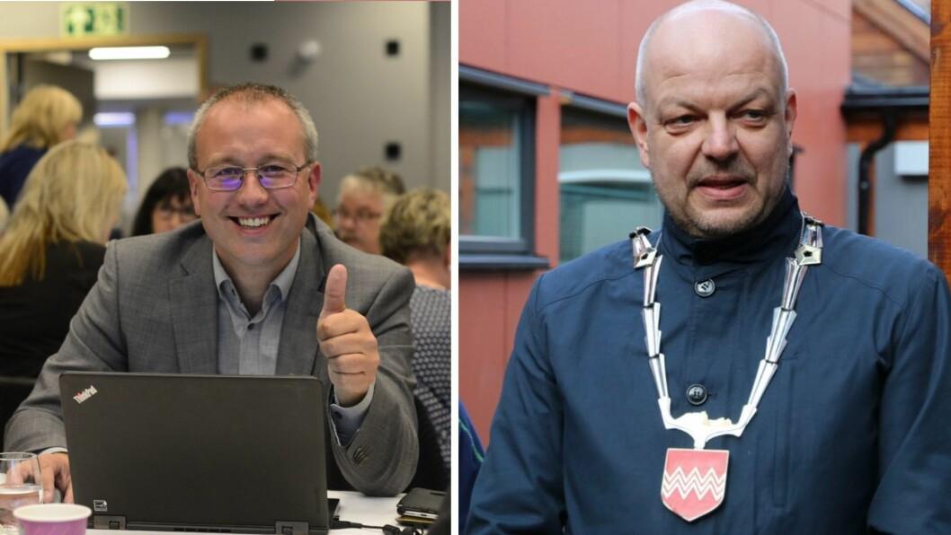 Smiler: Medan Arnstein Menes kan glise, har Hilmar Høl fått noko å tenke på. Senterpartiet er større enn Arbeidarpartiet.