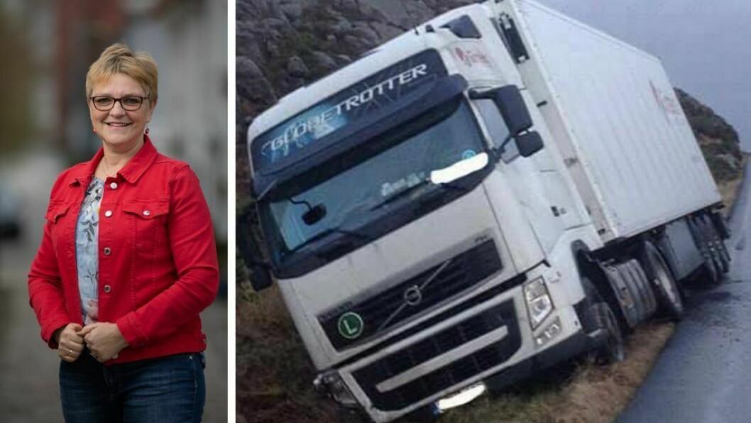 ENDELEG: Trude Brosvik (KrF) er glad for at det skal bli betre køyreforhold på Fylkesveg 5582 Sløvåg - Byrknesøy.